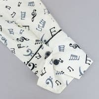 Grenouille Ladies Long Sleeve White With Black and Grey Musical Notes Shirt